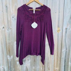 Burgundy Long Sleeve Asymmetrical Embroidered Top